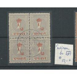 Suriname 60 blok van 4 Kroontjes-opdruk VFU/gebr CV 10+ €