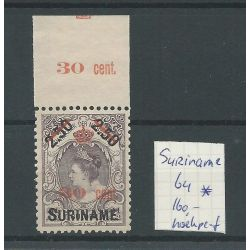Suriname 64 Kroontjes-opdruk MH/ongebr CV 160 € Hoekperforatie !!