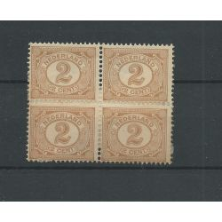 Nederland 54 cijfer 2 ct bruin BLOK van 4 MH/ongebr CV 26€