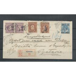 Ned. Indie 38f, 39fa (dubbeldruk) op brief Tjilatja-Batavia 1902 CV 350+ €
