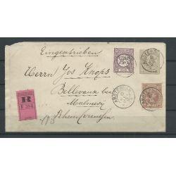 Nederland 33, 36 op R-brief 1895 naar Malmedy CV 100+ €