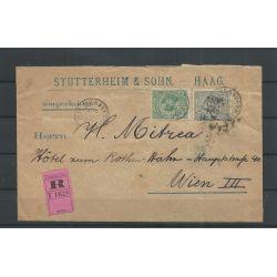Nederland 38 en 41 op R-Mengfrankering Den Haag-Wenen 1894 CV 225 €