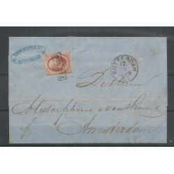 Nederland 5 op brief Rotterdam-Amsterdam 1865 VFU/gebr CV 40+ €