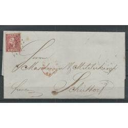Nederland 8 op brief Amsterdam- Schüttorf 1865 VFU/gebr CV 10+ €