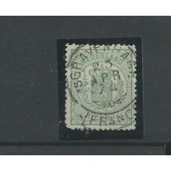 "Nederland 15 met ""GRAVENHAGE 1874"" franco-takje VFU/gebr CV 2 €"