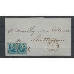 Nederland 5 paartje op brief ZIERIKZEE 1866 naar ASTERDAM VFU/gebr CV 100 €