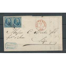 Nederland 5 paartje op brief ROTTERDAM 1866 naar LUIK VFU/gebr CV 100 €