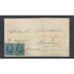 Nederland 5 paartje op brief AMERSFOORT 1866 naar ARNHEM VFU/gebr CV 100 €