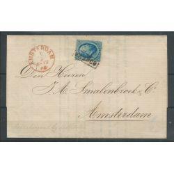 Nederland 5 op locale circulaire AMSTERDAM 1866 VFU/gebr CV 50 €