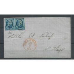 Nederland paartje 5 op brief HELMOND-DEN HAAG 1867 VFU/gebr CV 100+ €