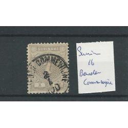 """Suriname 16 met """"BENEDEN COMMEWIJHE 1900"""" VFU/gebr CV ?? €"""