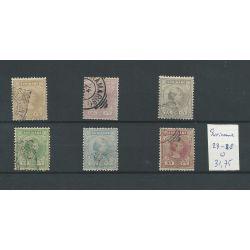 Suriname 23-28 Wilhelmina VFU/gebr CV 31,75 €
