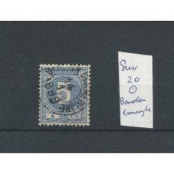 """Suriname 20 met """"BENEDEN COMMEWIJHE 1899"""" VFU/gebr CV ?? €"""