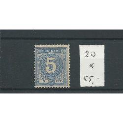 Suriname 20 Cijfer 5ct blauw MH/ongebr CV 55 €