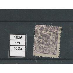 Nederland 18Da Wapens 1869 VFU/gebr CV 100 € keurmerkje