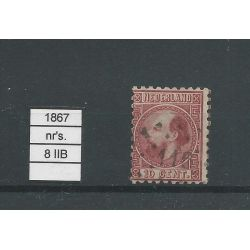 Nederland 8 II-B Willem III 1867 VFU/gebr CV 13 €
