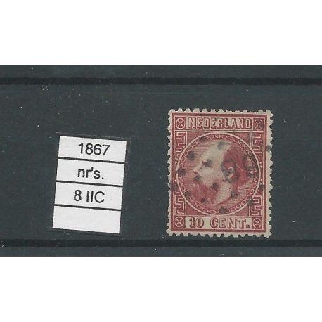 Nederland 8 II-C Willem III 1867 VFU/gebr CV 5 €