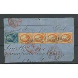Nederland 6 STRIP van 4 op briefstukje VFU/gebr CV 900 €