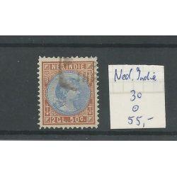 Ned. Indie 30 Wilhelmina 2,5Gld VFU/gebr CV 55 €