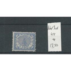 Ned. INDIE 45 Cijfer 4ct MH/ongebr CV 17,5 €