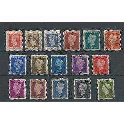Nederland 474-489 Wilhelmina Hartz VFU/gebr CV 23 €